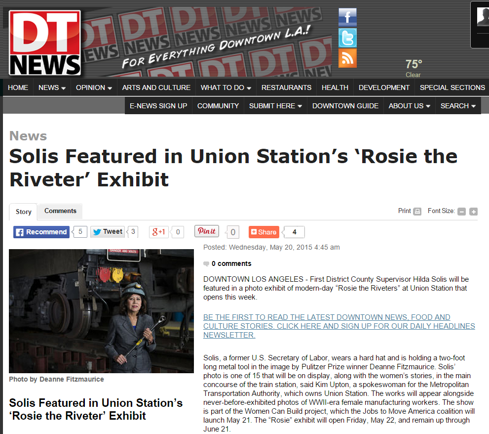 Solis Featured in Union Station's 'Rosie the Riveter' Exhibit   Los Angeles Downtown News   For Everything Downtown L.A.   News